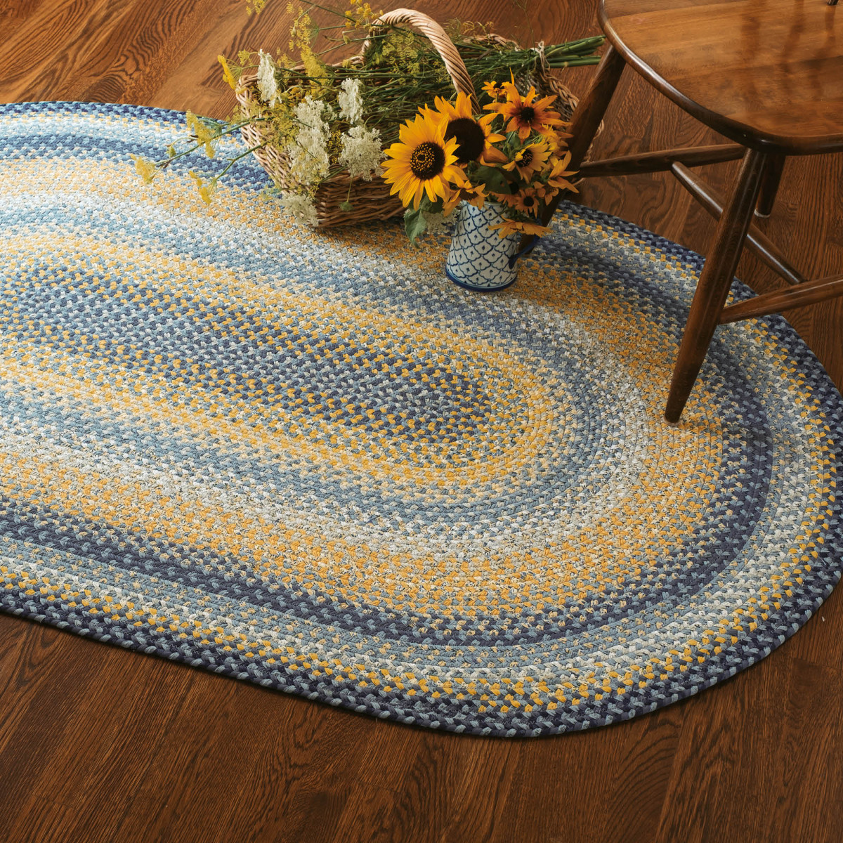 Blue Gold Cotton Braided Rugs