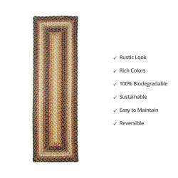 Russett Brown - Beige Jute Stair Tread or Table Runner