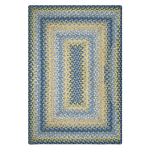 Sunflowers Blue - Gold Cotton Braided Rugs