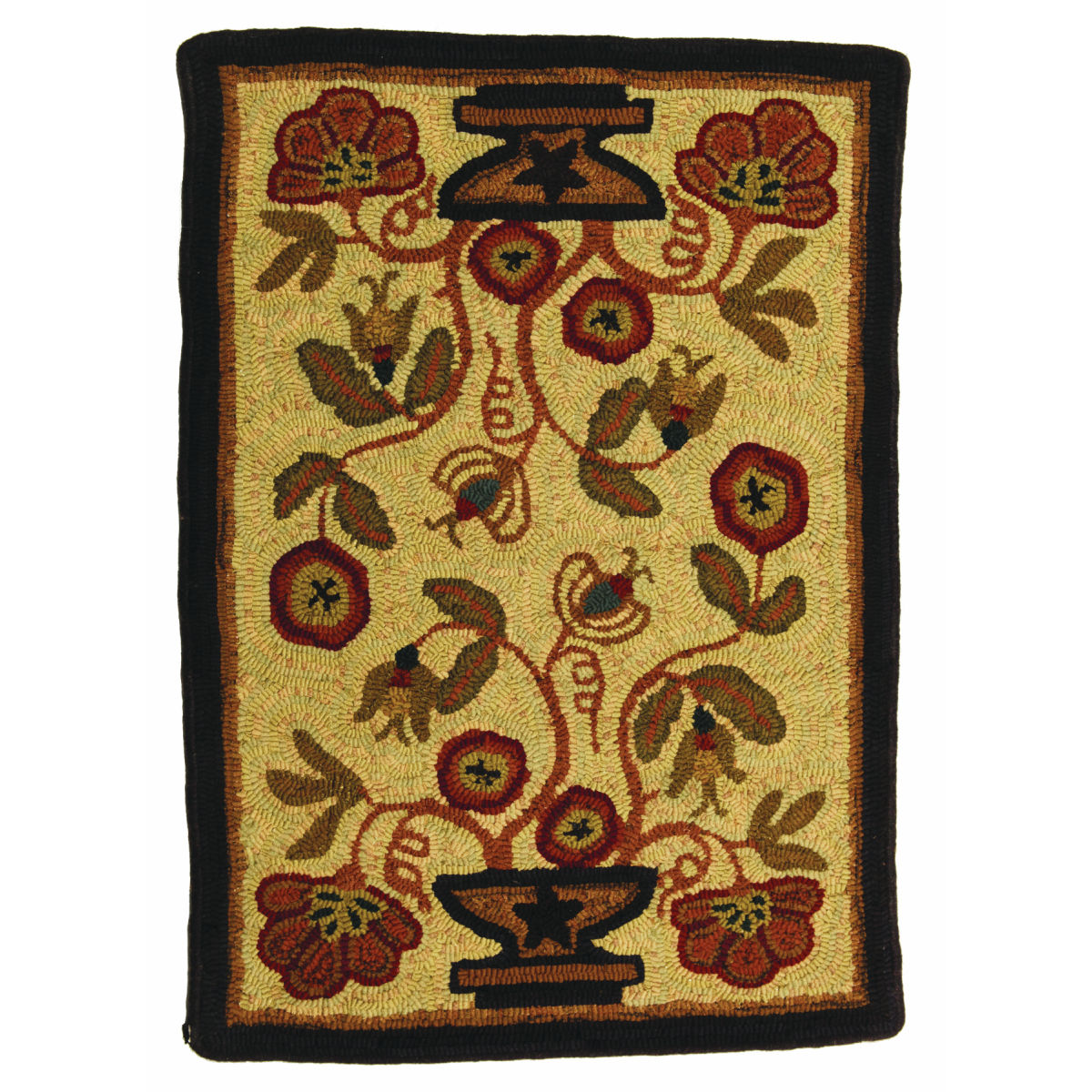 2u0027 X 3u0027 Potted Flower Hooked Rugs