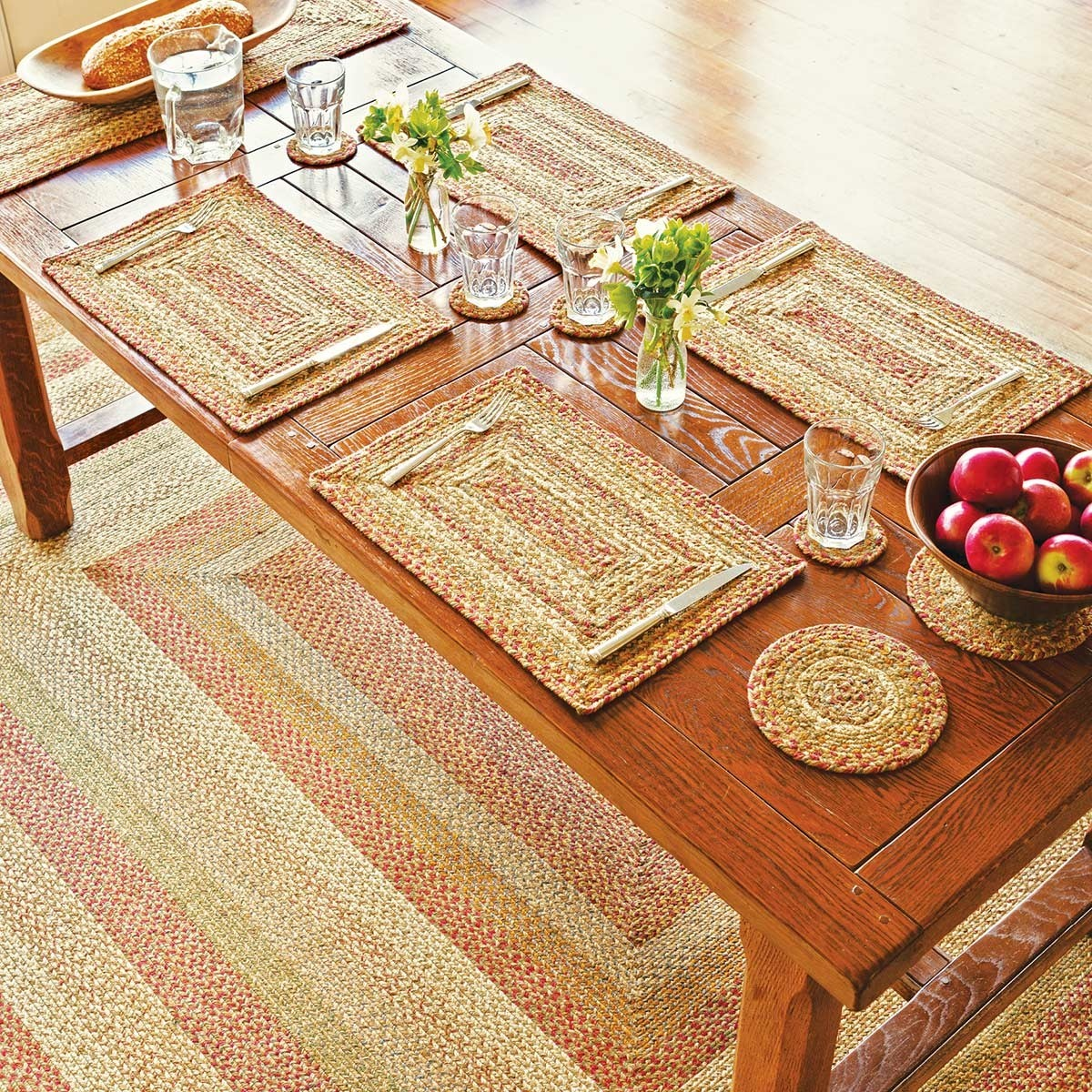 Wholesale Country Primitive Home Decor: Harvest Beige Jute Braided Rugs
