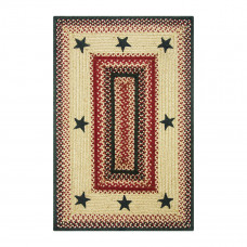 Primitive Star - Lancaster Red Tan - Dark Brown Jute Braided Rugs