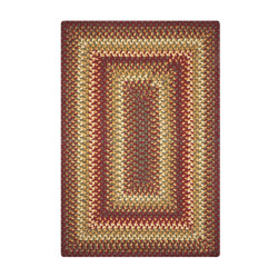 Winery Red - Yellow Wool Braided Rugs