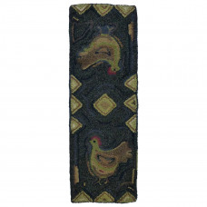 "13"" x 40"" Chicken Trax Hand Hooked Table Runners"