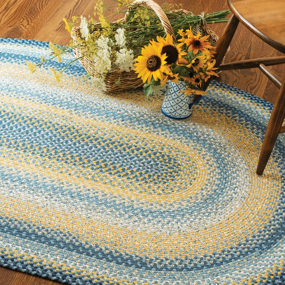 Buy Sunflowers Blue Gold Cotton Braided Rugs Online
