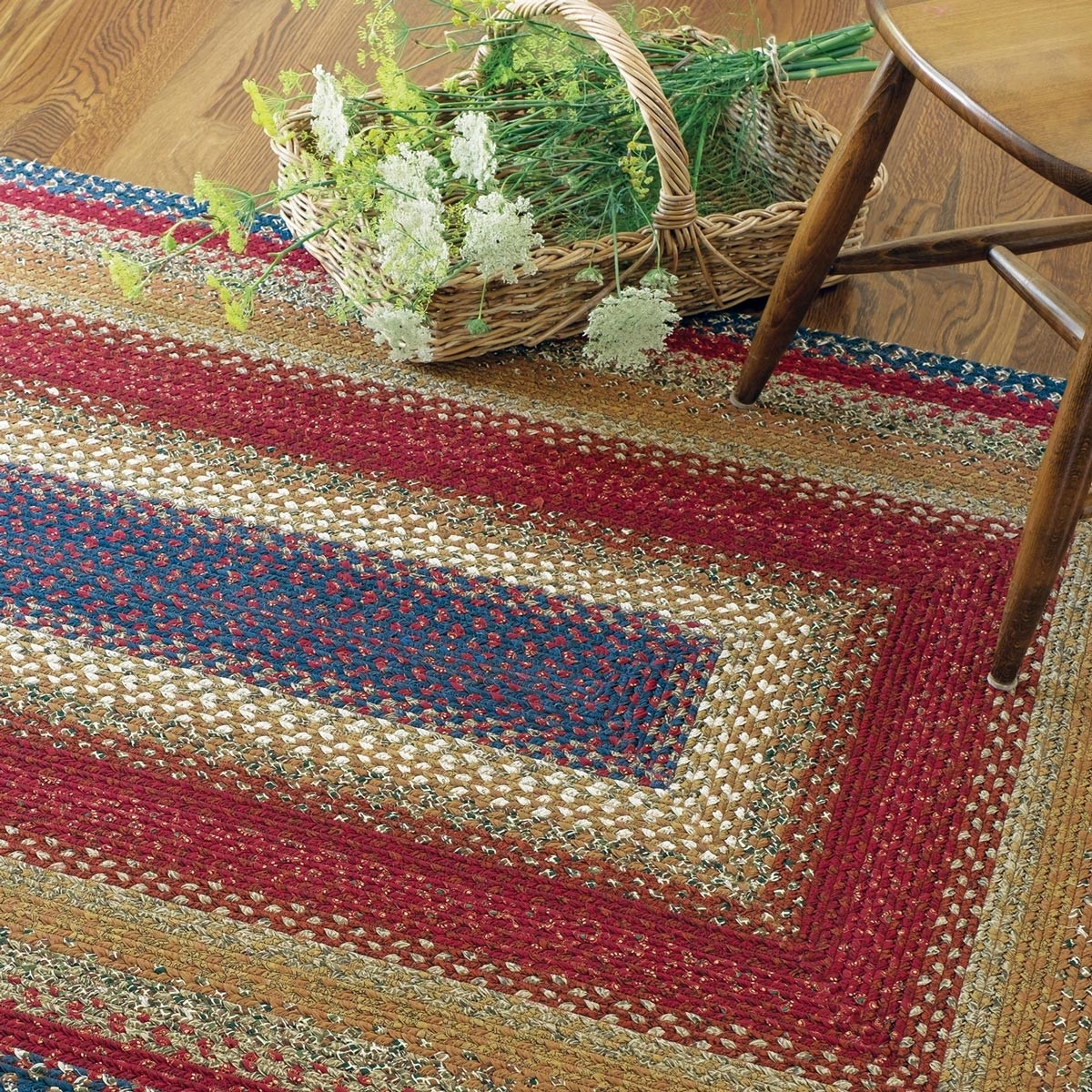 Buy Log Cabin Step Multi Color Cotton Braided Rugs Online