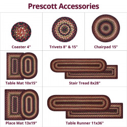 Prescott Black - Burdundy Jute Braided Accessories