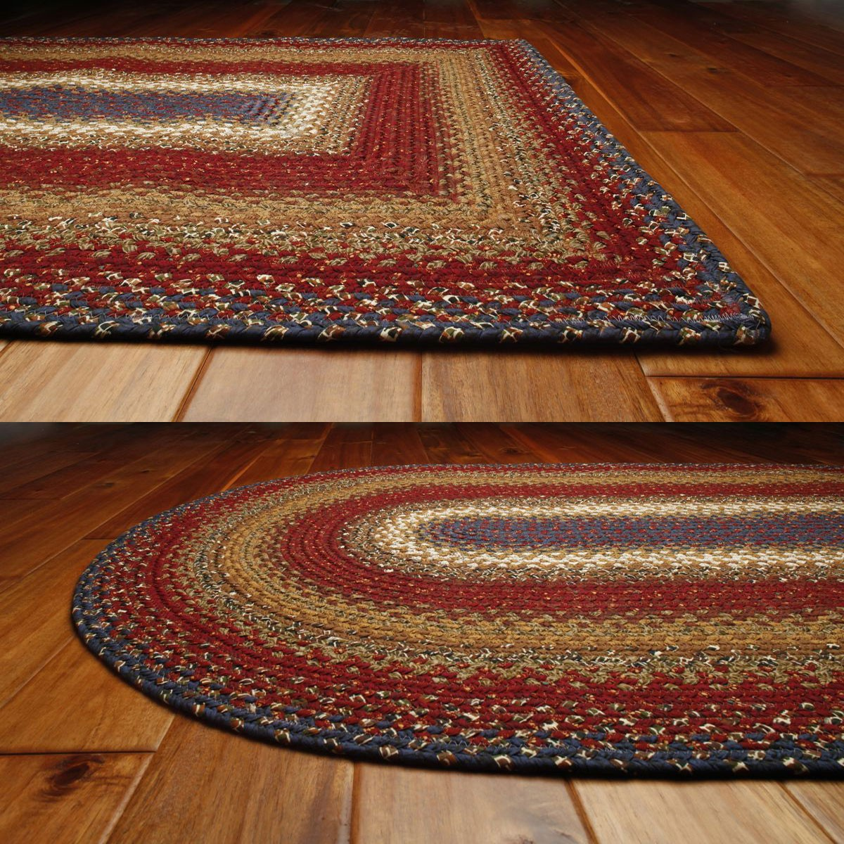 Amazing photo of Log Cabin Step Cotton Braided Rugs with #76361F color and 1200x1200 pixels