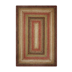 Gingerbread Brown - Deep Red Jute Braided Rugs