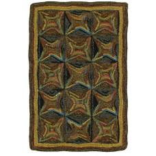 "13"" X 29"" Kaleidoscope Hand Hooked Table Runners"