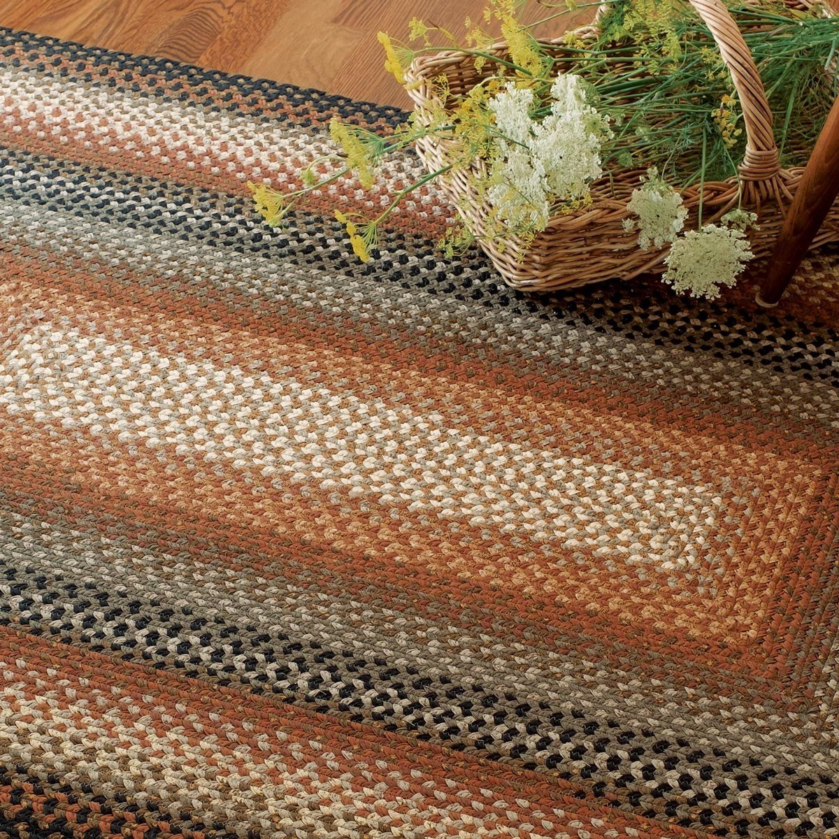 Used Oval Braided Rugs: Cocoa Bean Cotton Braided Rugs
