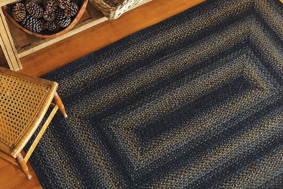 Raven Grey-Gold Jute Braided Rugs