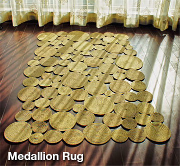 medallion braided rug of round circles