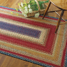 LOG CABIN STEP MULTI COLOR COTTON BRAIDED RUGS
