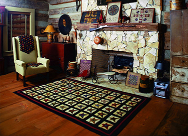 Star-Patch-Cream-Country-Primitive-Penny-Rugs-Rectangle-Room
