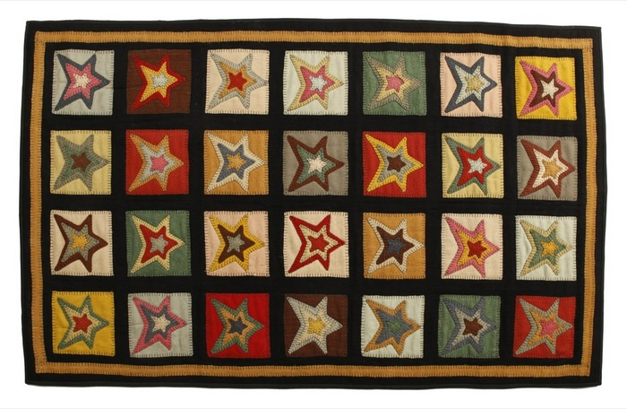 Primitive star-patch penny rugs