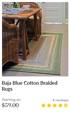 BAJA BLUE OVAL COTTON BRAIDED RUGS