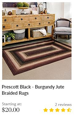 Prescott Black - Burgundy Jute Braided Rugs